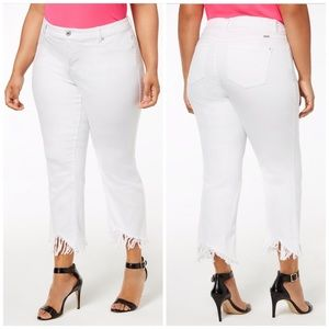 INC White Fringed Cropped Jeans Plus Size